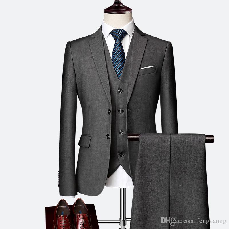 Acheter 2019 Nouvelle Mode Hommes Costumes Slim Fit 2 Bouton 3 Pièces  Costume Formel Pour Le Marié De Mariage Smokings Prom Party Costume Custom  Made Hommes ... a53619dde82