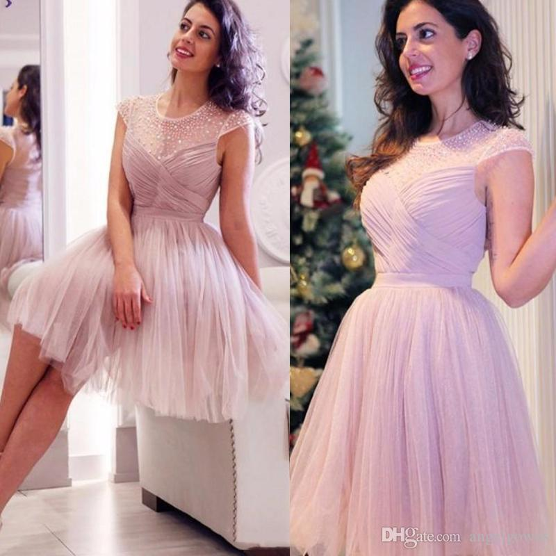Sweet Dusty Pink Short Tulle Prom Dresses Illusion Crew Neck Beads Tulle Mini Homecoming Dress Cheap Summer Cocktail Party Wear Plus Size