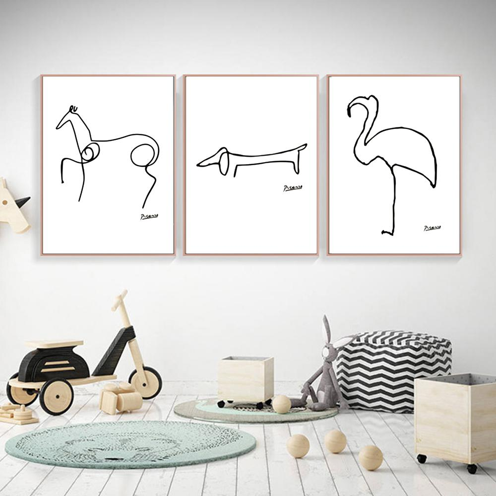 Picasso Abstract Animals Painting on Canvas, Modern Giclee Wall Art Canvas Print Black & White Minimalist Poster 3pcs/set No frame