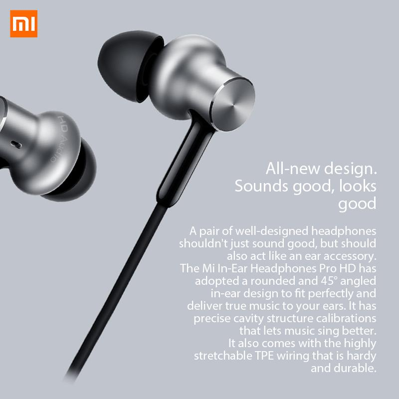 5c84b1b5b31 Original Xiaomi Hybrid Earphones Pro HD In-ear 3.5mm Jack Wired Control  with Mic Microphone Voice control Silver