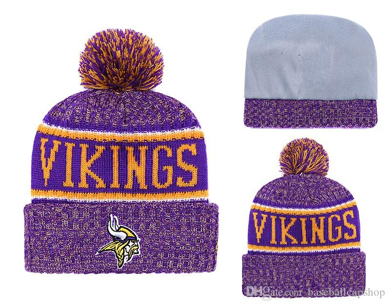 45e4d0e415763 ... sweden 2018 mens new minnesota vikings knitted beanie cap football  packers striped sideline cuffed pom beanie