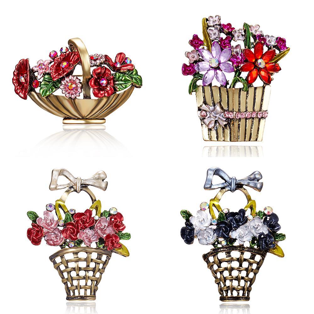 ede4182f7c4 Acheter Fleur Broche Panier Pour Les Femmes Full Strass Mix Couleur ...