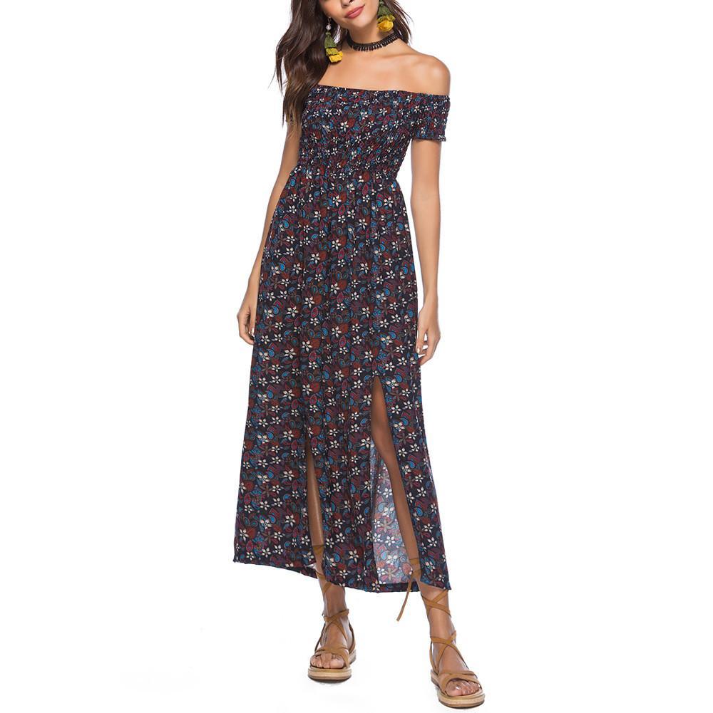 2a2d97164274d Boho style longue robe femmes épaule plage robes d'été imprimé floral  Vintage en mousseline de soie blanche maxi robe robes de festa