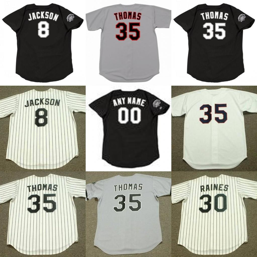 info for 60d62 a8663 Chicago 8 BO JACKSON 35 FRANK THOMAS 30 TIM RAINES 45 MICHAEL Baseball  Jersey men youth women