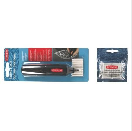 Derwent Battery Operated Eraser Replacement Erasers Refills Artist Precise Media Removal Tools