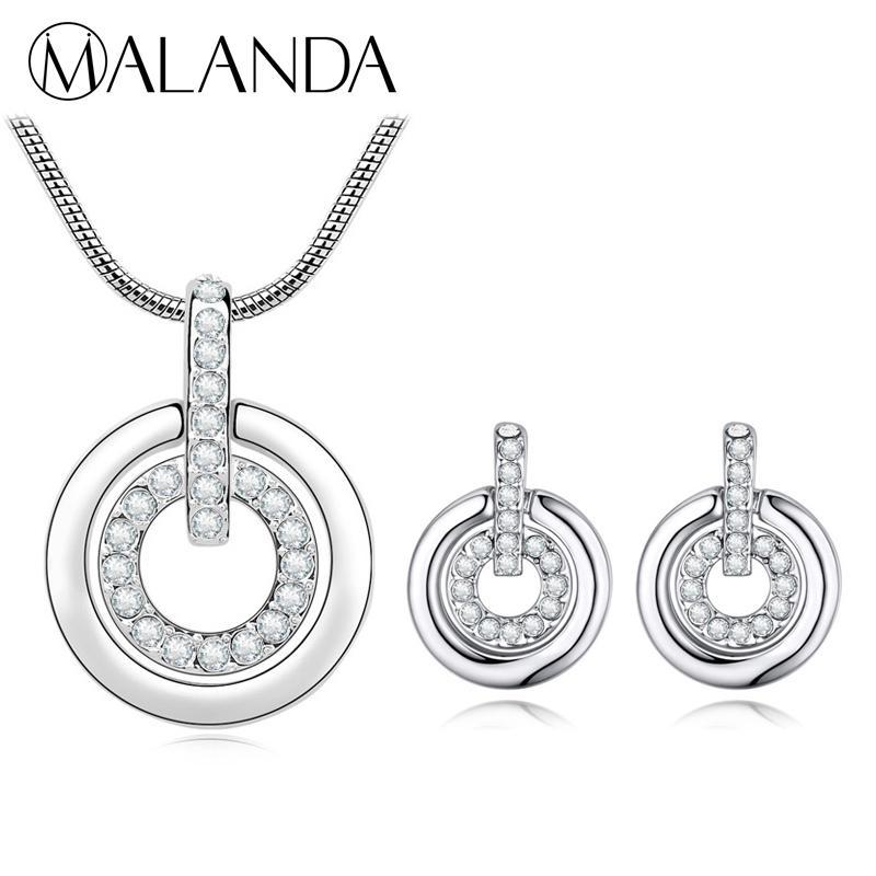 72c890c89202 Compre MALANDA Cristales De Swarovski Conjuntos De Joyas De Moda Doble  Círculo Colgante Collar Pendientes Conjuntos Para Mujeres Accesorios De  Boda A  20.46 ...