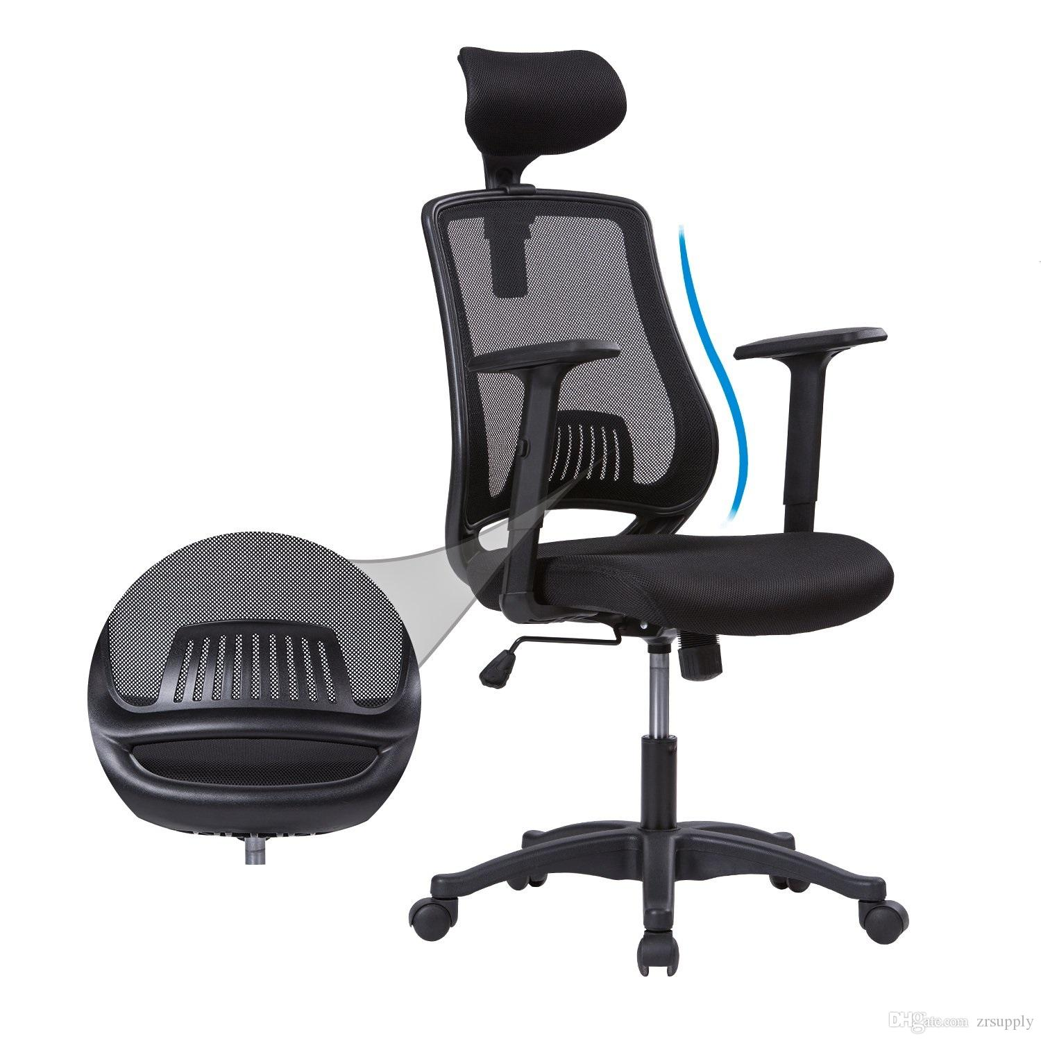 High-Back Mesh Office Chair Adjustable Armrests Headrest Breathable Ergonomic Computer Chair Desk Task Executive Chair Back Lumbar Support
