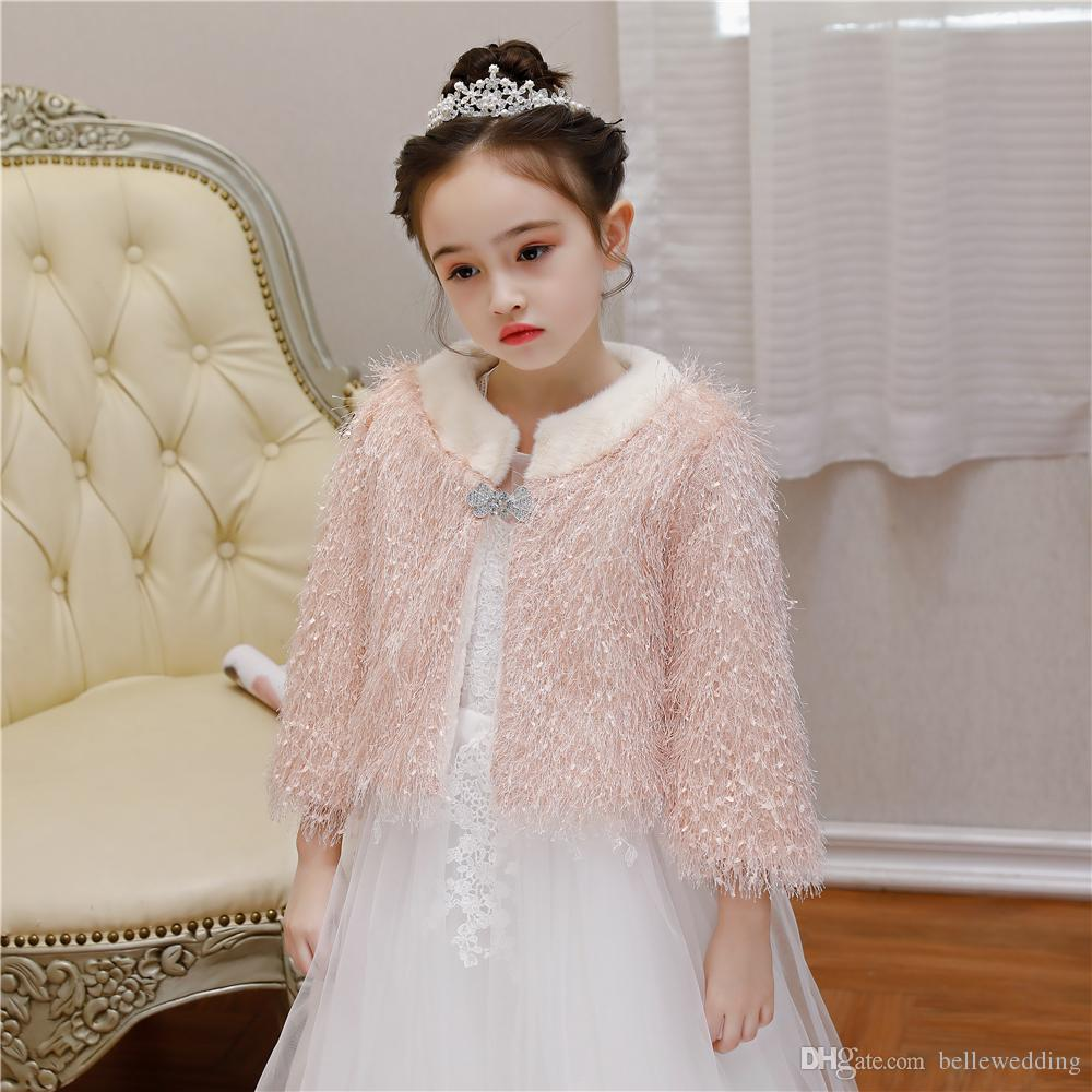 2019 Fall Winter Kids Fur Jacket Flower Girls Accessories Bolero Shrugs Pink Faux Coat For Pageant BW RTPJ0005 From Bellewedding,