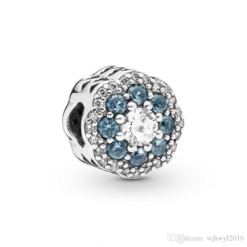 New Authentic 100% 925 Sterling Silver Blue Crystal Pave Shine Flower Charm Beads Fits Original Brand Bracelets DIY Jewelry Making