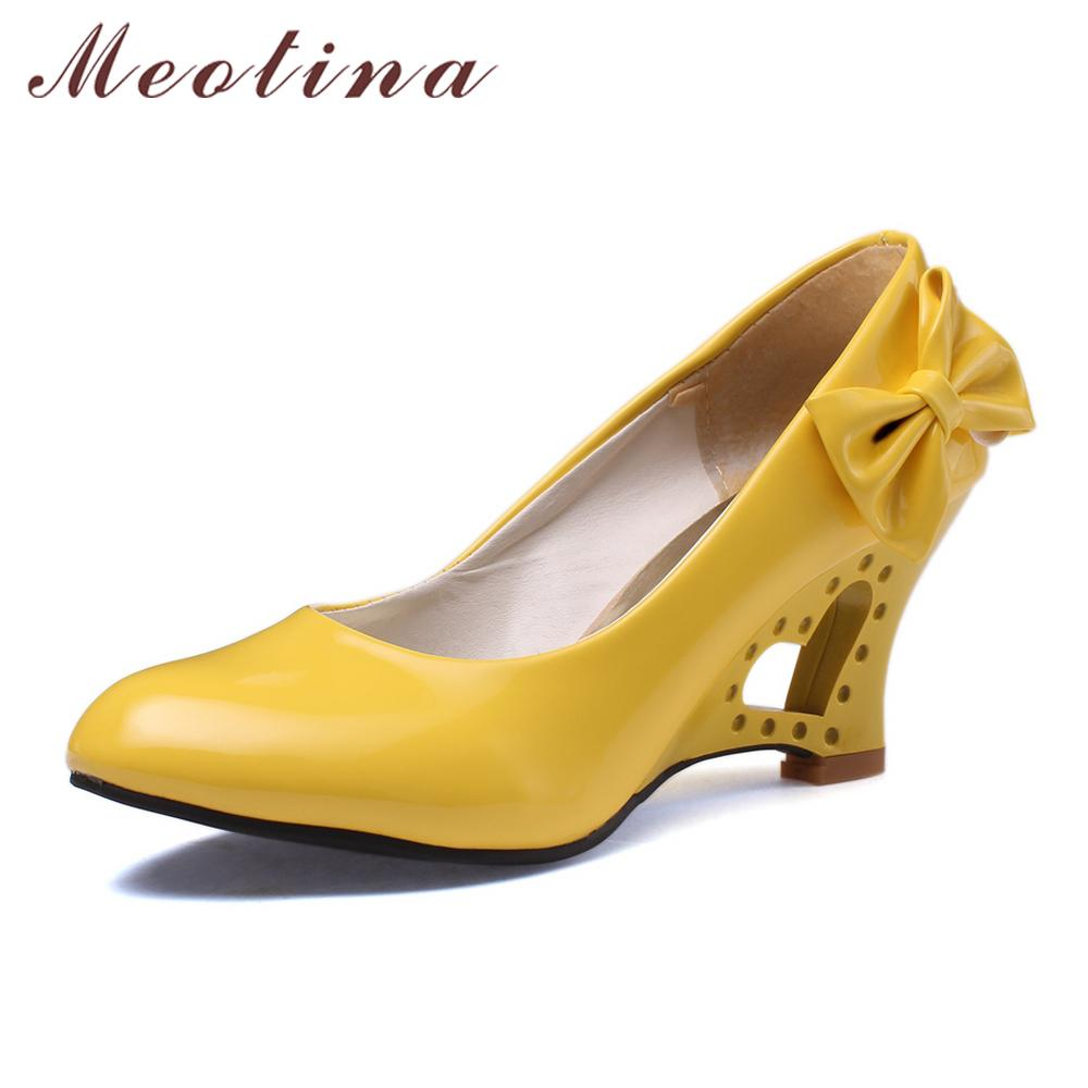 43de8e2f4bf5 Designer Dress Shoes Meotina Women Wedge High Heels Fashion Bow PU Patent  Leather Platform Party Pumps White Black Pink Yellow Size 34 39 Cheap Shoes  For ...