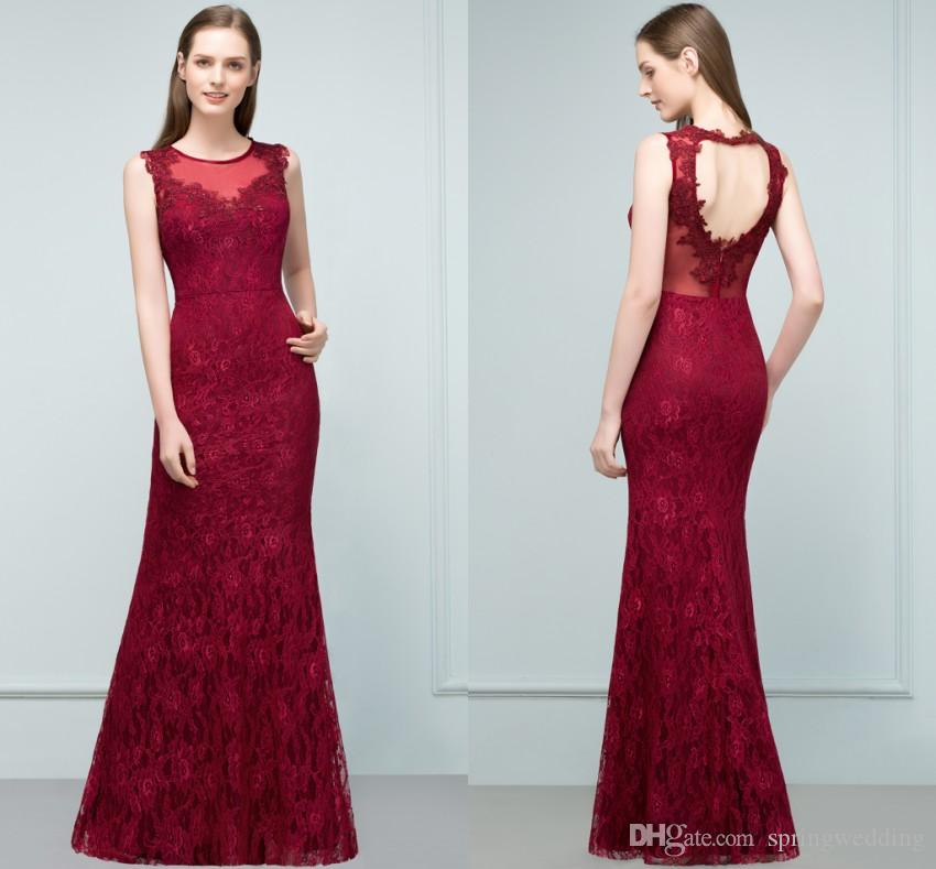 New Arrival Robe Longue Soiree Burgundy Lace Evening Dresses Long 2019 Sexy  Back Prom Dresses Party Gown CPS808 Party Wear Long Dresses Party Wear Tops  ... 39b3a3583472