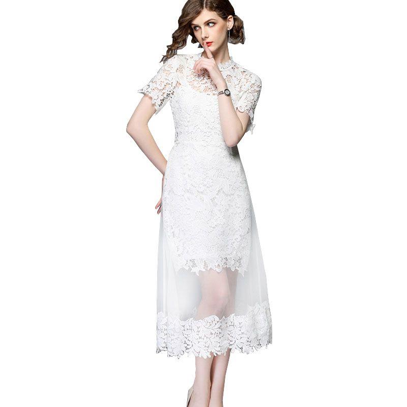 b9efd67574 Summer Mesh Patchwork White Lace Dress Women Floral Crochet Lace Runway Dress  Elegant Mid Calf Party Dress Vintage Vestidos Long Dress Striped Light  Purple ...