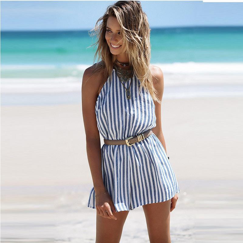 43ba1c242549 Nueva moda para mujer monos Europa y los Estados Unidos estilo de mujer  sexy a rayas sin espalda colgando cuello mono ropa de mujer ropa de playa