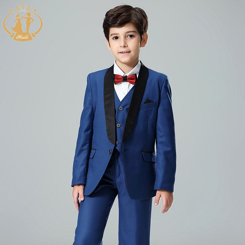 Nimble Blue Boy Costume Enfant Garcon Mariage Kids Wedding Suit Blazer Suits For Weddings Boys Tuxedo 3pcs/set Q190604