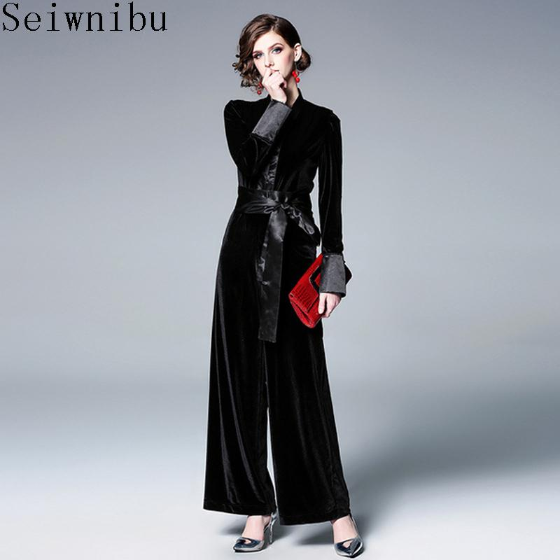 82bf49369c3 2019 Elegant Women S Romper V Neck Long Sleeve High Waist Bandage Velvet  Jumpsuits For Women 2019 Autumn Fashion Tide From Cutelove66