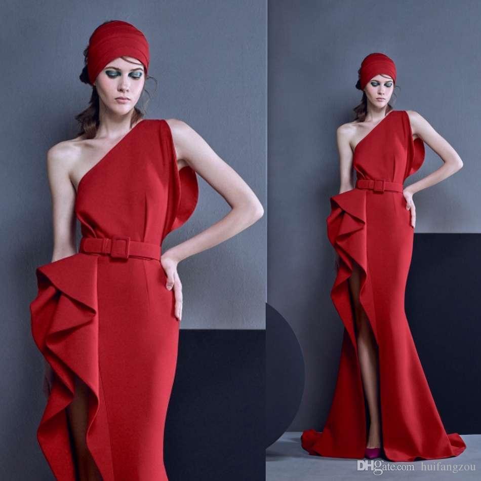 e29694494c9 Latest Red Mermaid Prom Dresses One Shoulder Thigh High Slits Long Evening  Dresses With Ruffles Satin Designer Dress Women Formal Wear 50s Prom  Dresses 80s ...