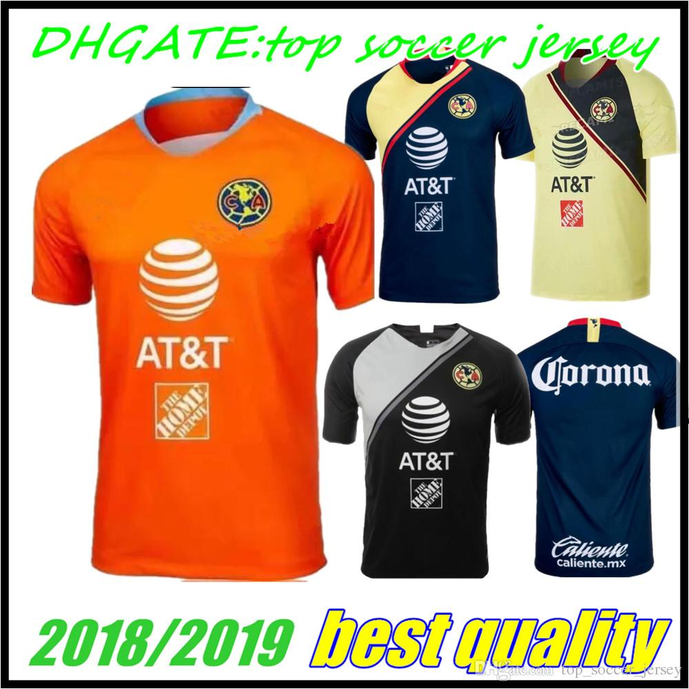 2019 2018 2019 Mexico Club America Goalkeeper Orange Soccer Jersey 18 19  C.BLANCO Home Away D.BENEDETTO R.SAMBUEZA O.PERALTA Soccer Uniforms From ... 90b07618c