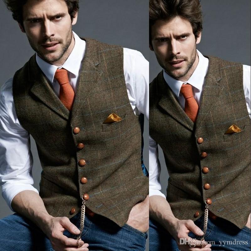 5f87a134a0 2019 Men s Wool Plaid Groom Vests Groom s Suit Vest Tweed Business Suit  Jacket Formal Groom s Wear Suit Vest Men s Wedding Tuxedo Waistcoat