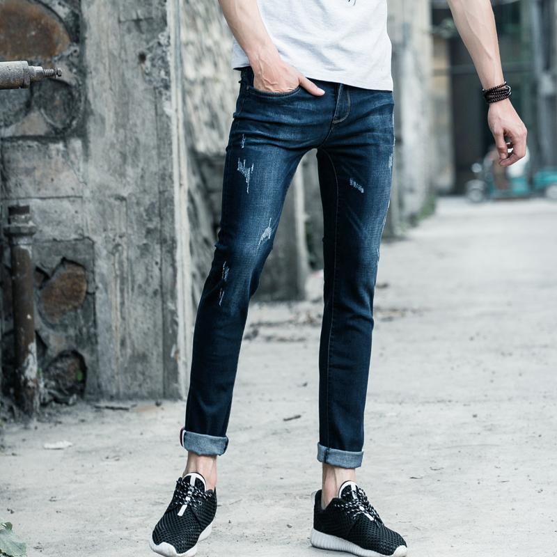 0ec8cc30cc Compre Pantalones Vaqueros De Hombre Biker Jeans Strech Casual Jean Para Hombres  Pantalones Largos De Algodón
