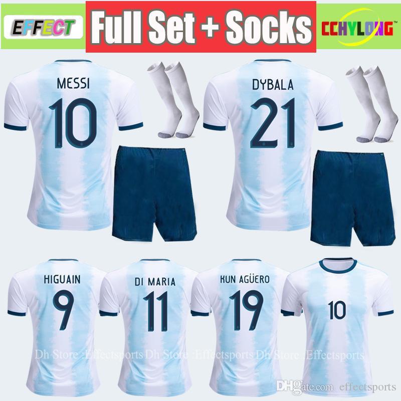save off 144a2 6a513 Adult Kit New 2019 Argentina Soccer Jersey Men Full Sets Copa America 2020  MESSI DYBALA HIGUAIN Camisetas de futbol football Soccer Shirts