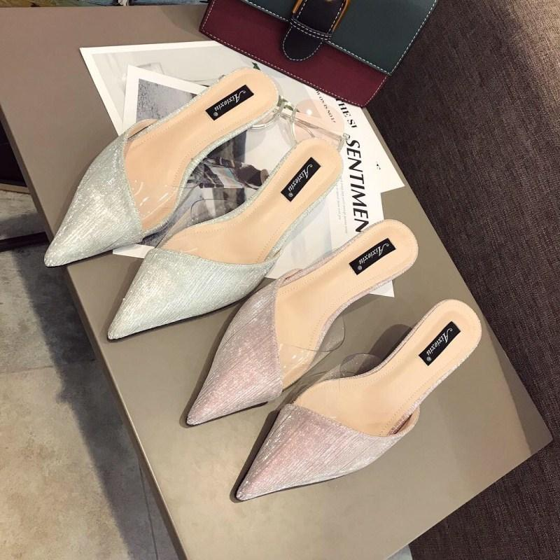 Crystal2019 Half Baotou Transparent Sharp Fine con Cool Slipper Woman