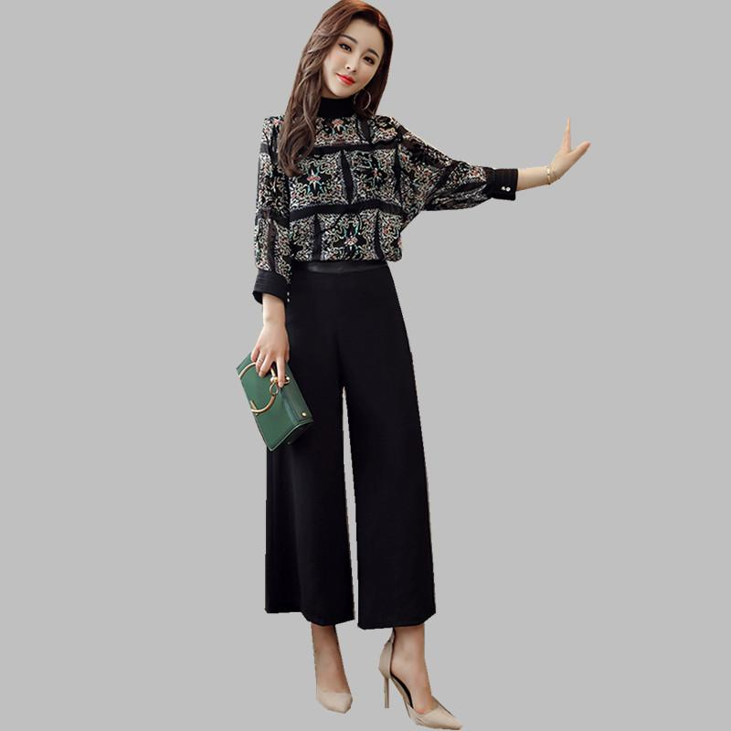 2019 HAMALIEL Plus Size Women Pant Sets Spring Chiffon Printed Floral Loose  Shirt + Vest +Office Black Wide Leg Trousers Suit From Qualityclothes 95295032d6