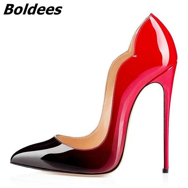 e50a34a6 Compre Boldees 2018 Zapatos Sexy Mujeres Punta Estrecha Extreme Tacones  Altos Estilete Mujeres Bombas Zapatos De Boda Zapatos De Vestir De Fiesta  Bombas ...