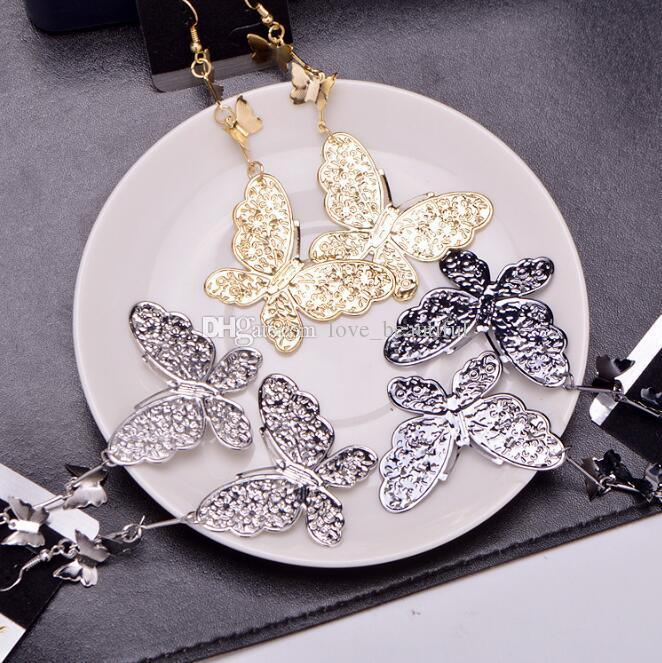 2019 Hot sale alloy 3 Butterfly Tassels Dangle Chandelier Earrings black gold silver Exaggerated Pendant Earrings woman Fashion jewelry