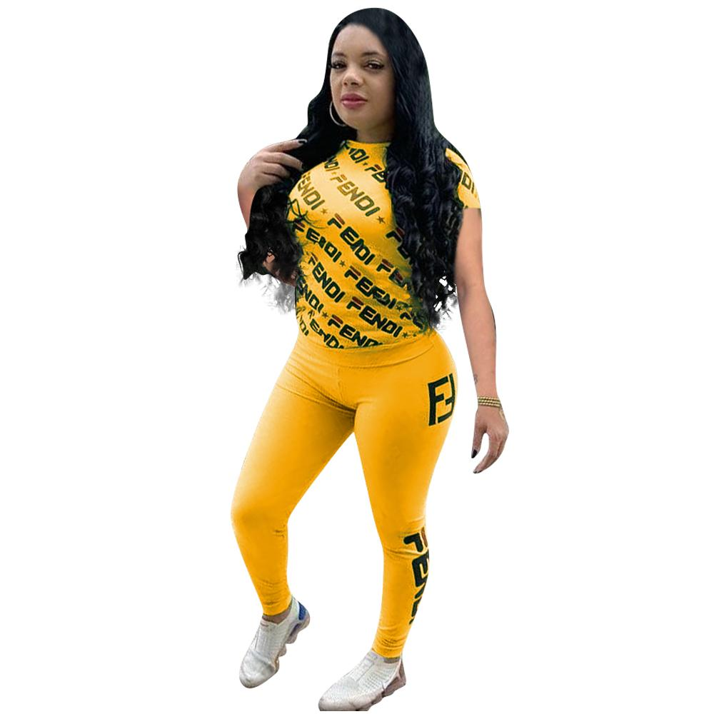 3857e51a1dba Women F Letters Tracksuit Short Sleeve T shirt Tops + Pants Leggings 2  Piece Summer Outfit Tights Sportswear Casual Jogger Suit A41305
