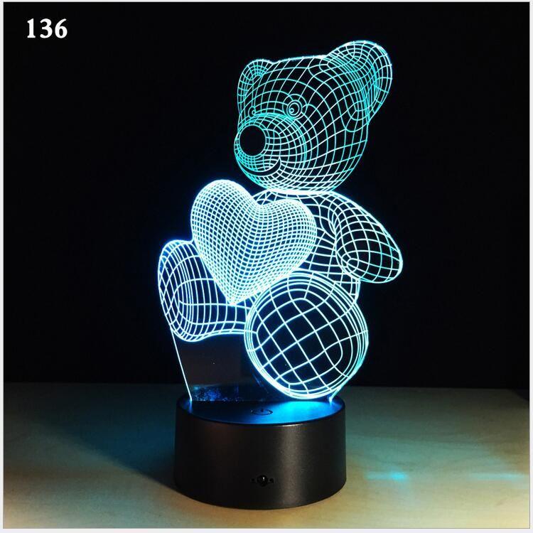 Dessin Animé Led Table Coeur De 3d Bureau Usb Amour Changement Batterie Kid Nouveauté Forme Nuit Cadeau Lampe Lumière Ours qUMzVGpS