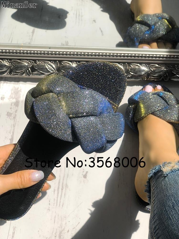 0623cdd1a7c9 Glitter Braided Design Flat Sandals Open Toe Shinny Rhinestone Embellished Women  Slippers Summer Outside Slides Shoes Rome Style Girls Shoes Bearpaw Boots  ...