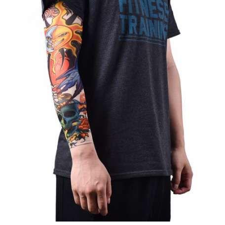 4ec038f66 Nylon Temporary Tattoo Sleeves Men Boy Male Seamless Fake Tattoo Arm Warmer  Stockings Warmers Elastic Sport Skins Sun Protective Bite Sleeve Sun  Protection ...