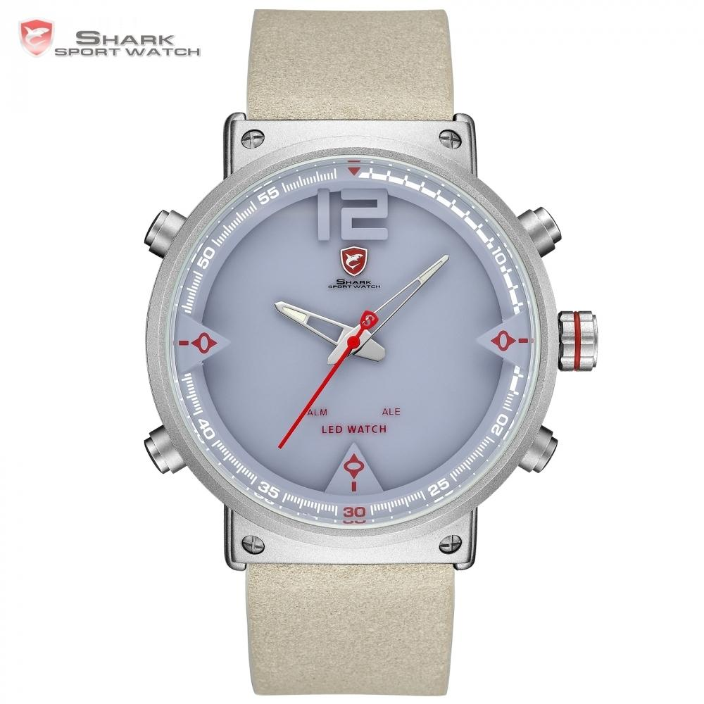d734a8e8e Bluegray Carpet Shark Sport Watch Digital Cool New Design Double Time Led  Date Alarm Leather Men's Quartz Watches Relogio /sh550 Y19052201
