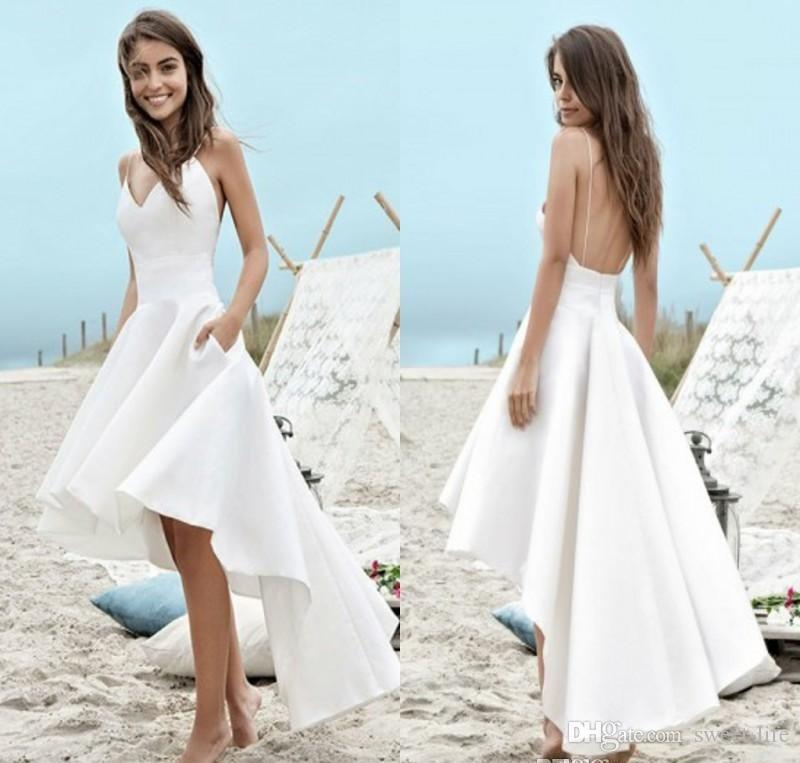 54520bc36992b Satın Al Ucuz Seksi Mütevazı Beyaz Yaz Mezuniyet Elbiseleri 2019 A Hattı  Plaj Boho Homecoming Elbise Yüksek Düşük Backless Spagetti Sapanlar Tatil  ...