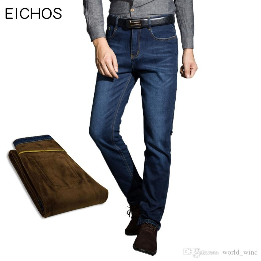 013ff62a347 2019 EICHOS Mens Jeans 2018 Winter Jeans Men Warm Flocking Soft Joggers Man  Straight Pants Big Size Denim Trousers High Quality  347846 From  World wind