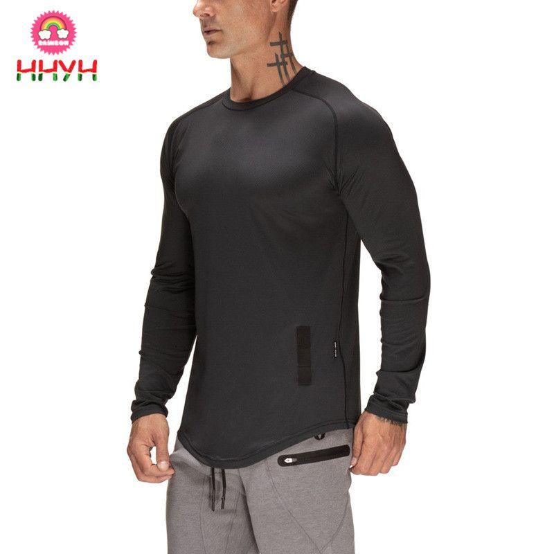 0e1cfa1c9 Manga longa Esportes Top Execução T-shirt Workout Soccer Sweatshirt Algodão  Ginásio de Fitness T Shirt Dos Homens O-pescoço Camisa Esporte Homens  Rashgard