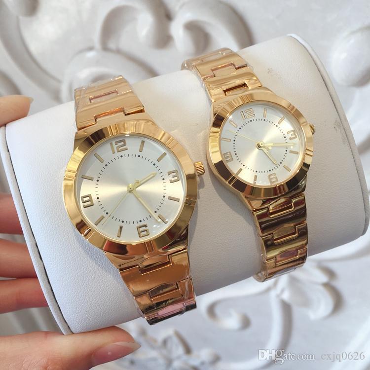 1c484a039e5a Compre 2018 Moda Mujer Moda Mujer Reloj Acero Inoxidable Oro Amarillo    Plata Color Acero Pulsera Cadena Movimiento De Japón Señora Reloj De  Pulsera A ...