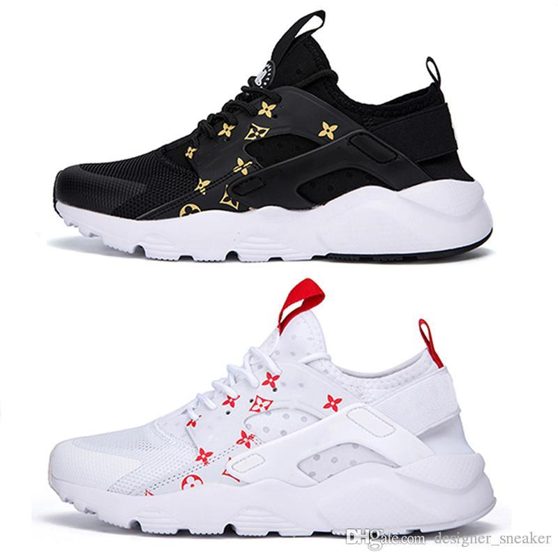 best loved 607d2 31bb3 2019 ACE GUGCI Sup Air Huarache IV 4.0 Men Running Shoes Triple Black White  Fashion Huaraches Luxury Mens Trainers Women Sports Sneaker From ...