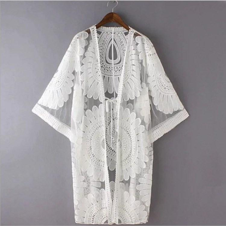 e903f52409 White Sexy Hollow Crochet Beach Coat Cover Up 3/4 Sleeve Lace Coat Women  Tunic Summer Beachwear Fur Jackets Parka Jackets From Beenling, $20.21|  DHgate.Com
