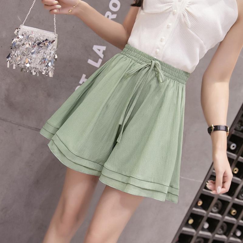 249a83b4a Moda con volantes pantalones cortos sueltos Falda Señoras Cordón plisado  pantalones cortos Pantalones cortos de verano