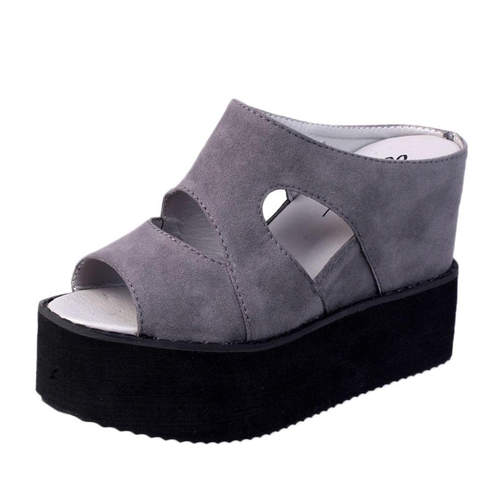 88c54e9de Ladies Shoes High Block Heel Wedge Heels Slipper Open Toe Heels Ladies Shoes  Casual Comfort Casual Shollow Shoe Shops Formal Shoes From Tasehook, ...