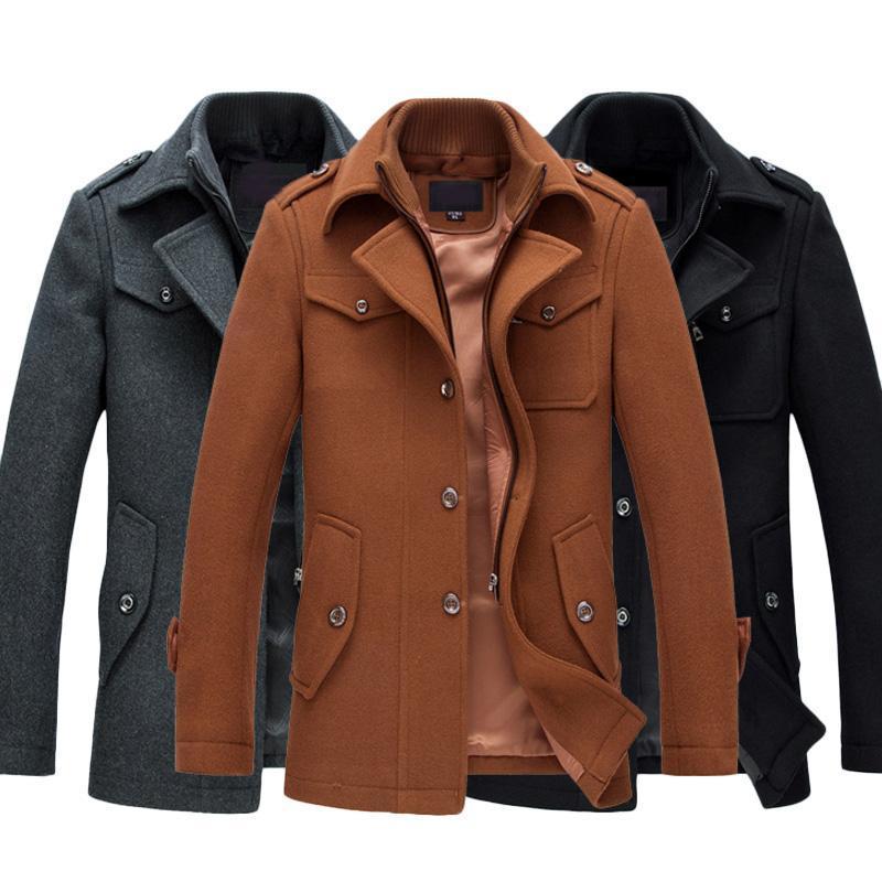 6b7a7f98e0698 Winter Warm Men Casual Jackets Wool Overcoat Slim Fit Jackets Men ...