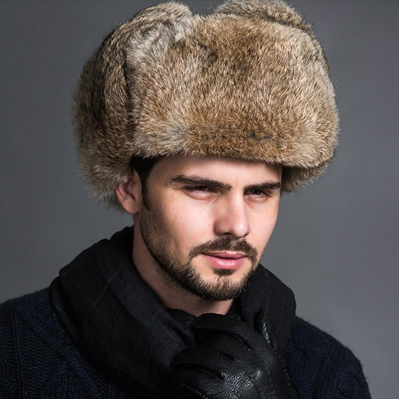 3efaf3b4c50 Male Men S Winter Warm Faux Fur Bomber Hats Black Brown Solid Thicken  Earflap Caps Leifeng Snow Hats Ear Warmer S4447 D19011503 Beanie Kids Skull  Caps From ...
