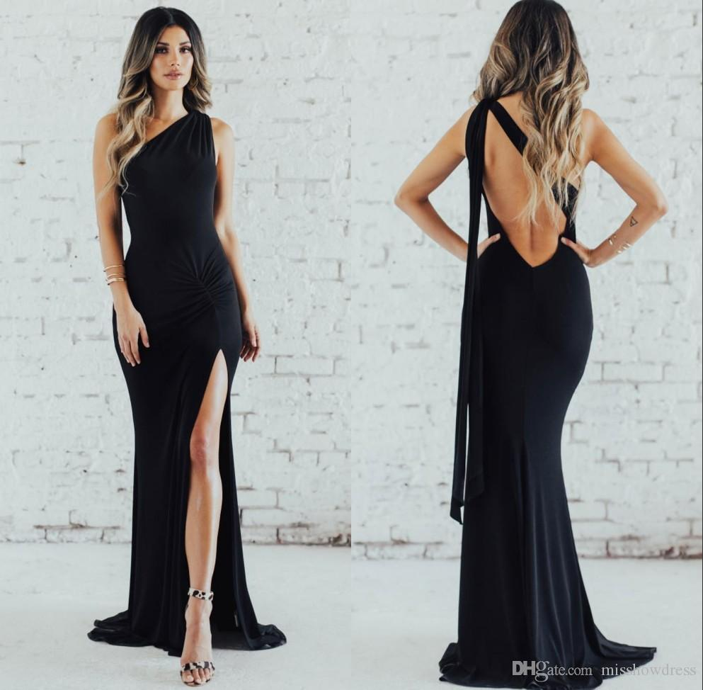 9a17de8261e Elegant Black One Shoulder Satin Split Mermaid Long Bridesmaids Dresses  2019 Ruched Backless Floor Length Wedding Guest Prom Dress BM0388 Two Tone  ...