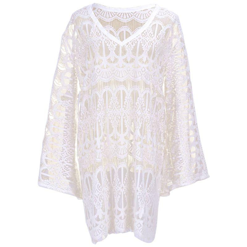 Womens Summer Long Flare Sleeves Beach Mini Dress Solid White Color Hollow Out Crochet Floral Lace Bikini Cover Up Eyelash Trim Blouses & Shirts