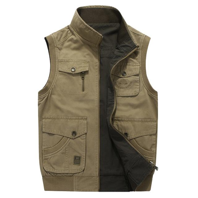 785818d0d9f5d Acheter Double Wear Plus Size 6XL 7XL 8XL AFS JEEP Marque Hommes Gilets  Sans Veste Veste En Coton Occasionnel Multi Poche Gilet Hommes Gilet  Manteau De ...