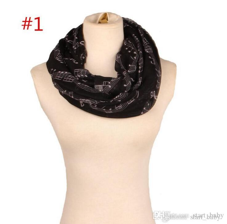 Ladies Music Note neckerchief 8colors for choose Women Music Piano Notes Script Print Scarves Female soft Autumn Ring B1121