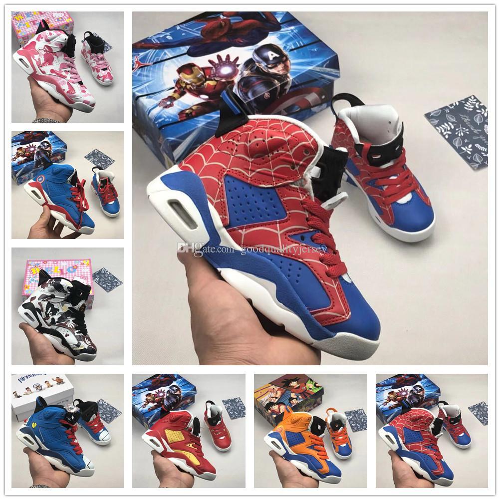 fccc9a4fccf7c Acheter Nike Air Jordan Aj6 6s Spider Man Enfants Chaussures De Basketball  Enfants 6s UNC Carmine Remplaçant Hare Oreo Marron Gatorade Chrome Rouge  Garçon ...