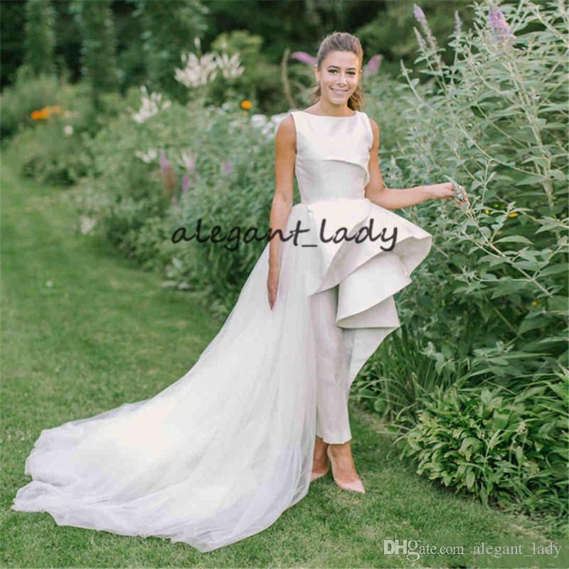 Vintage Boho Bridal Jumpsuit Wedding Dresses with Train 2019 Ruffles High Low Peplum Jewel Country Beach Wedding Jumpsuit Gown