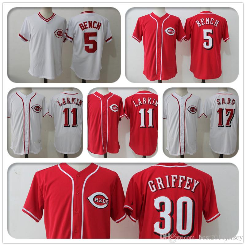 new concept e49dc 4d74b Cincinnati Reds 11 Barry Larkin Jersey 5 Johnny Bench Jersey 14 Pete Rose  19 Joey Votto 17 Chris Sabo a4